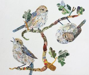 Kirie Pedersen. Taking the Edge Off in Lunch Ticket. Kerry Buchman, Bushtits, 2015. Postage stamps on paper, 9 x 12 in.